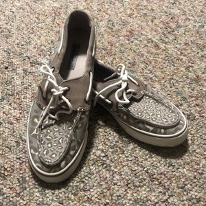 Sperry Topsiders size 8. Gray with leopard print.